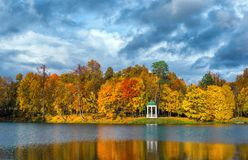 Autumn Park and the Pond. Area for walking Royalty Free Stock Image