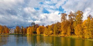 Autumn Park and the Pond. Area for walking Stock Photography