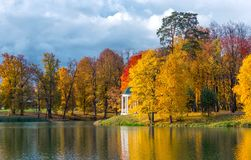 Autumn Park and the Pond. Area for walking Royalty Free Stock Photography