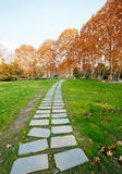 Autumn park's trails. Path in the splendor of the fall colors in autumn Royalty Free Stock Photo