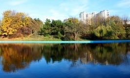 Autumn park scene stock photo