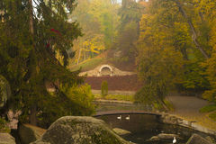 Autumn park scene with river Royalty Free Stock Photography