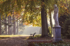 In autumn park. Soft autumn landscape in the park with a statue in the foreground, and the bench in the middle ground, leaving the alley in the foggy haze in a royalty free stock image