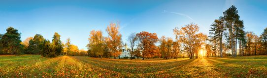 Autumn park with sun and forest - Panorama stock photo