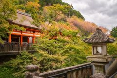 Autumn park view from a terrace at Kiyomizu-dera Buddhist temple, Kyoto, Japan. Terraces, buildings and the park at the famous Kiyomizu-dera buddhist temple on royalty free stock photos