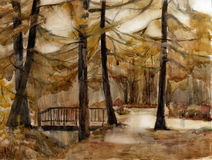 Autumn park. Watercolor. Stock Images