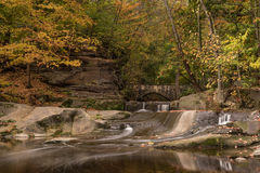 Autumn Park With Waterfalls Stock Photography