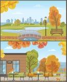 Autumn Parks avec le pont au-dessus de l'étang et du café confortable illustration de vecteur