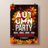 Autumn Party Flyer Illustration con las hojas que caen y la tipografía diseñan en fondo del modelo del garabato Vector otoñal Libre Illustration