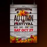 Autumn Party Flyer Illustration con le foglie cadenti e la tipografia progettano su fondo di legno d'annata Vettore autunnale illustrazione vettoriale