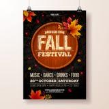 Autumn Party Flyer Illustration con le foglie cadenti e la tipografia progettano sul barilotto di legno d'annata Caduta autunnale royalty illustrazione gratis
