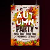 Autumn Party Flyer Illustration con le foglie cadenti e la tipografia progettano sul fondo del modello di scarabocchio Vettore au illustrazione vettoriale