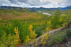 Autumn pass. Autumn view of the river valley from the pass Stock Photos