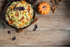 Autumn pasta with pumpkin and bacon Royalty Free Stock Photography