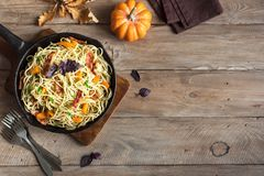 Autumn pasta with pumpkin and bacon Stock Image