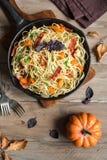 Autumn pasta with pumpkin and bacon Stock Photos