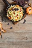 Autumn pasta with pumpkin and bacon Royalty Free Stock Photo