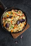 Spaghetti pasta with pumpkin and bacon Stock Photography