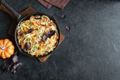 Spaghetti pasta with pumpkin and bacon Stock Images