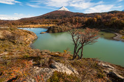 Autumn in Patagonia. Tierra del Fuego,  Argentine side. Autumn in Patagonia. Tierra del Fuego, Beagle Channel, the Argentina side Royalty Free Stock Photos