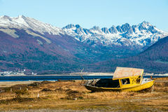 Autumn in Patagonia. Tierra del Fuego, Beagle Channel. And Chilean territory, view from the Argentina side stock photography