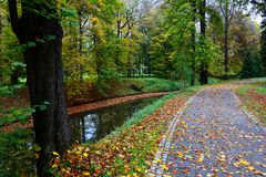Autumn path along the creek stock photos