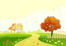 Autumn path. Illustration of a beautiful autumn park with bright foliage trees Stock Photos