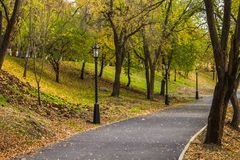 Autumn path in the park. Yellow leaves on the trees. Royalty Free Stock Photography