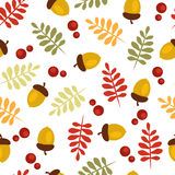 Autumn pattern with acorns and leaves. Seamless Autumn pattern with acorns and leaves Royalty Free Illustration