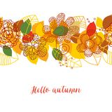 Autumn pattern. Colorful leaves and flowers Royalty Free Stock Photo
