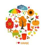 Autumn pattern, background. Set design element, vector illustration. Stock Image