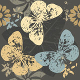 Autumn Pattern with Butterfly silhouettes on blossom flowers Stock Photo