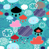 Autumn pattern with clouds. Autumn seamless pattern with colorful different clouds and rain stock illustration