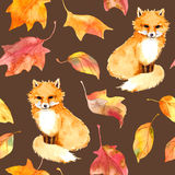 Autumn pattern - cute fox animal, red leaves. Seamless watercolor Stock Photos