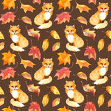 Autumn pattern - cute fox animal, red leaves. Seamless watercolor. Autumn pattern - cute fox animal and autumn leaves. Seamless watercolor Stock Photos