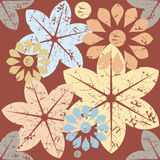 Autumn pattern with decorative flowers Stock Photos