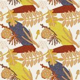 Autumn pattern design. Vector illustration. Autumn pattern design. Plants mushrooms and berries Royalty Free Illustration