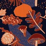 Autumn pattern design. Vector illustration. Autumn pattern design. Plants mushrooms and berries Stock Illustration