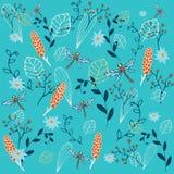 Autumn Pattern Elementos: libélula, ceniza de montaña roja, flores, y otras plantas Ilustración del vector Imágenes de archivo libres de regalías