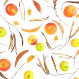 Autumn pattern with fall leaves, apple fruits on white background. Flat lay, top view. Thanksgiving day composition. Autumn pattern with fall leaves, apple stock image