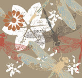 Autumn pattern with flowers and dragonfly's Royalty Free Stock Photography