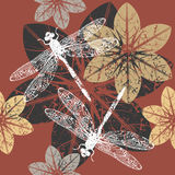 Autumn pattern with flowers and dragonfly's Stock Photo
