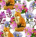 Autumn pattern of foxes and flowers copy Stock Photo
