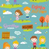 Autumn pattern with happy smiling kids Stock Image