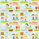 Autumn pattern with happy smiling kids Royalty Free Stock Image