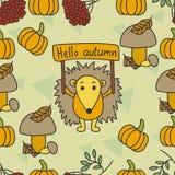 Autumn pattern with hedgehog, leaves, pumpkin, kalina, mushrooms. Stock Photo