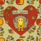 Autumn pattern with hedgehog, nuts, leaves, apples. Stock Photography