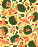 Autumn Pattern With Hedgehogs Stock Photo