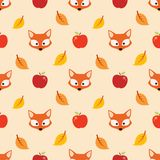 Autumn pattern with apple and fox. Autumn pattern with leaf, apple and fox Stock Images