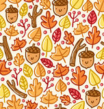 Autumn pattern. With leaves, acorns and berries Royalty Free Stock Photo